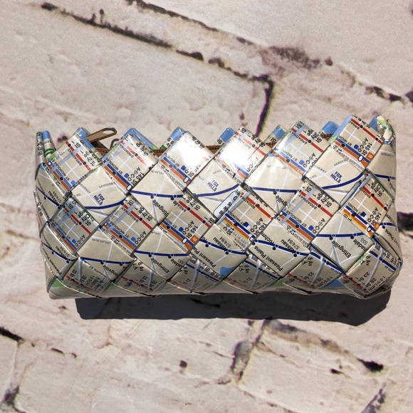 Nyc Subway Map Zippered Wallet.Recycled Map Clutch